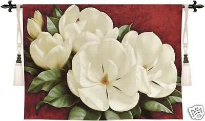53x33 MAGNOLIA CRIMSON Floral Tapestry Wall Hanging
