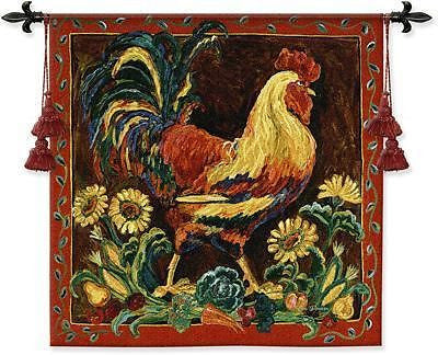 35x35 ROOSTER Floral Tapestry Wall Hanging