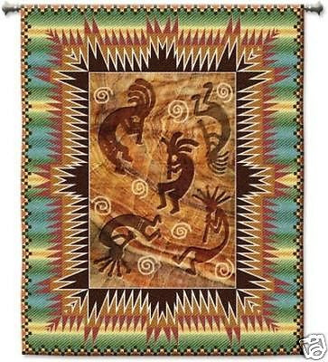 42x53 KOKOPELLI BURST Southwest Tapestry Wall Hanging