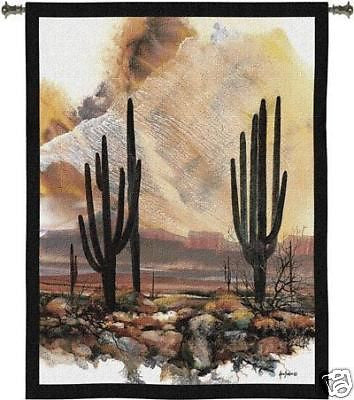 40x53 SONORAN SENTINELS Cactus Tapestry Wall Hanging