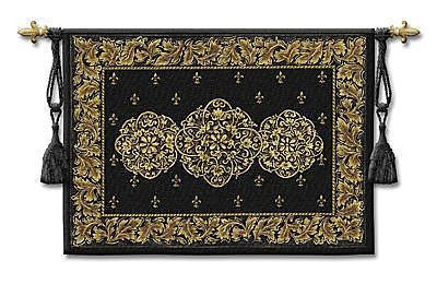 53x40 BLACK MEDALLION Tapestry Wall Hanging