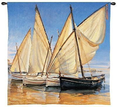 35x36 WHITE SAILS Sailboat Ocean Tapestry Wall Hanging