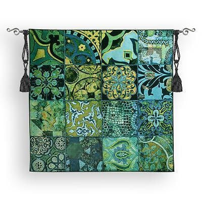 52x51 COBALT MOSAIC Floral Tile Geometric Tapestry Wall Hanging