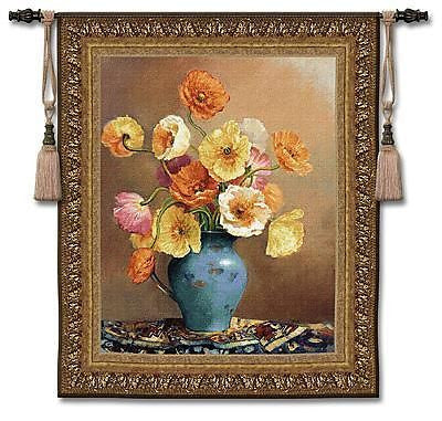 47x53 POETIC POPPIES Floral Tapestry Wall Hanging