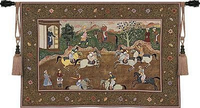 53x38 POLO MATCH Asian Oriental Tapestry Wall Hanging