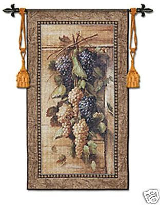 47x26 POETIC GRAPES Bianchi Tapestry Wall Hanging