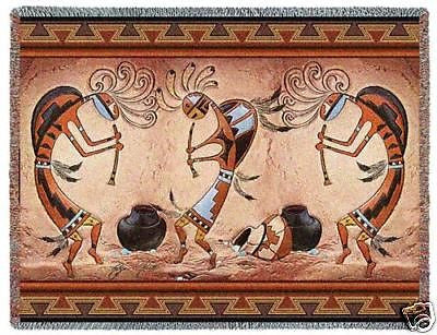 70x54 Kokopelli Pot Dance Throw Blanket