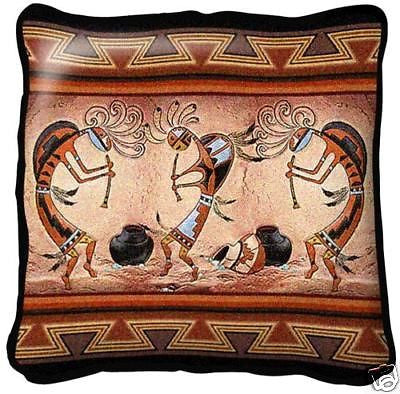 ~Set of 2~KOKOPELLI Pot Dance Southwest Pillows