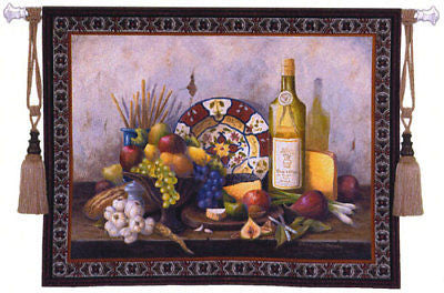 53x42 ITALIAN Still Life Fruit Wine Tapestry Wall Hanging