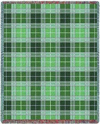70x53 HEATHER Plaid Green Tapestry Afghan Throw Blanket