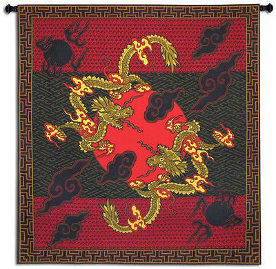 56x53 DOUBLE DRAGON Chinese Asian Tapestry Wall Hanging