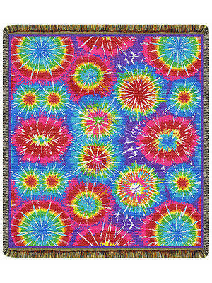 60x48 Tye TIE DYE Retro Tapestry Afghan Throw Blanket