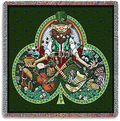 53x53 LEPRECHAUN Irish Shamrock Lucky Clover Tapestry Throw Blanket