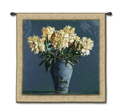 53x53 CHINA BLUE Floral Tapestry Wall Hanging