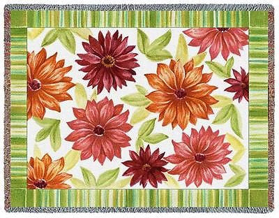 70x54 DAHLIAS Floral Throw Blanket