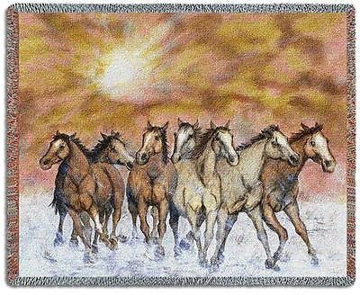 70x54 HORSE Sunset Run Throw Blanket