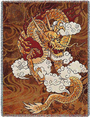 70x53 GOLDEN DRAGON Fire Chinese Asian Tapestry Throw Blanket
