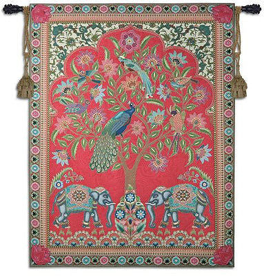 67x52 INDIA Tree of Life Peacock Elephant Tapestry Wall Hanging