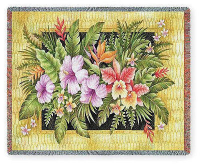 70x53 TROPICAL FLOWERS Hibiscus Throw Blanket