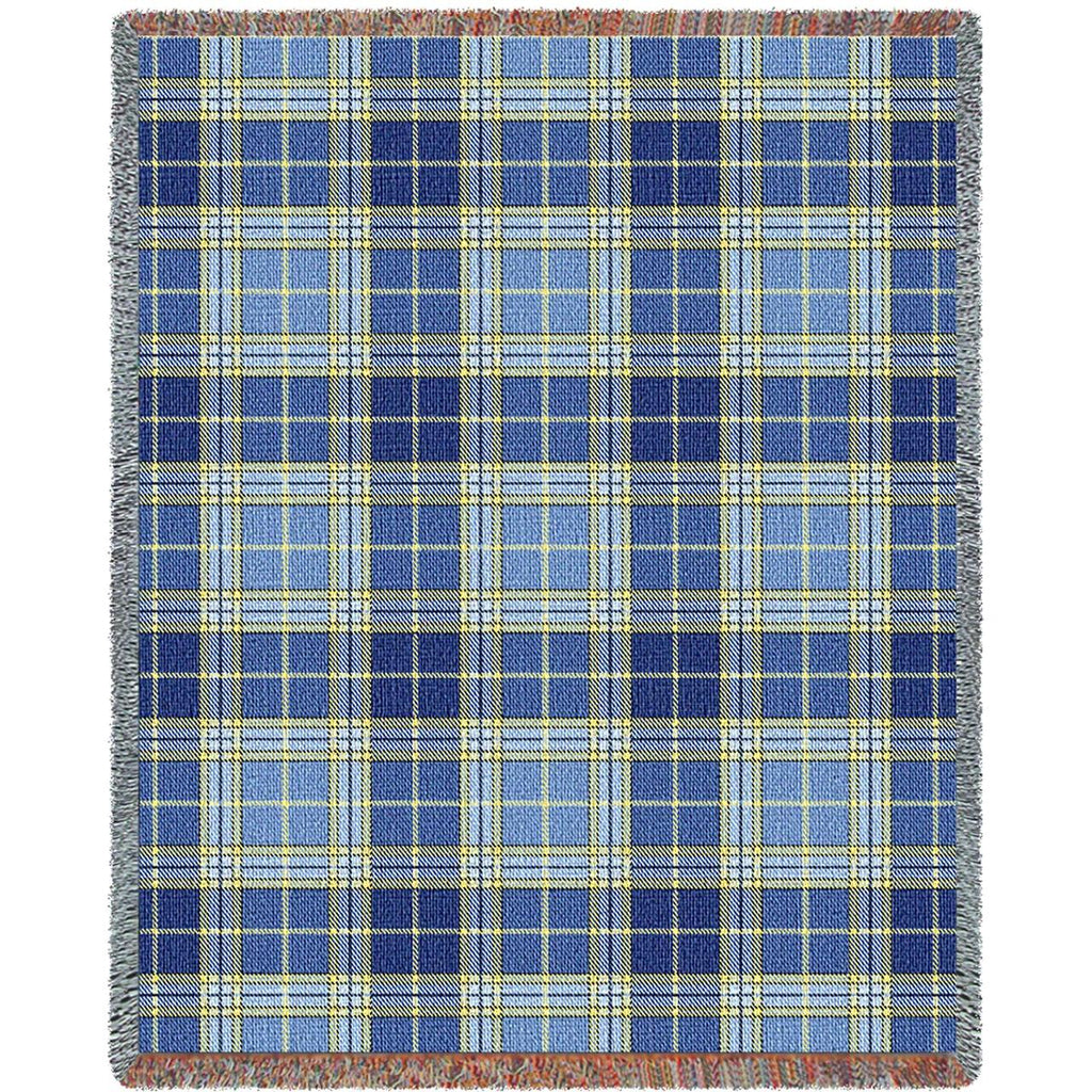 70x53 BLUE BELL Plaid Throw Blanket