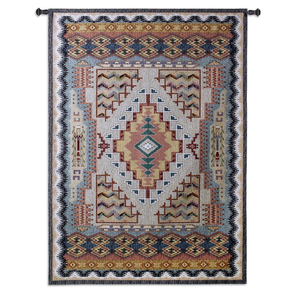 75x53 SOUTHWEST TURQUOISE Geometric Tapestry Wall Hanging