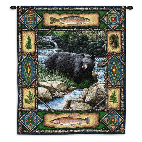 26x34 Black BEAR Lodge Tapestry Wall Hanging