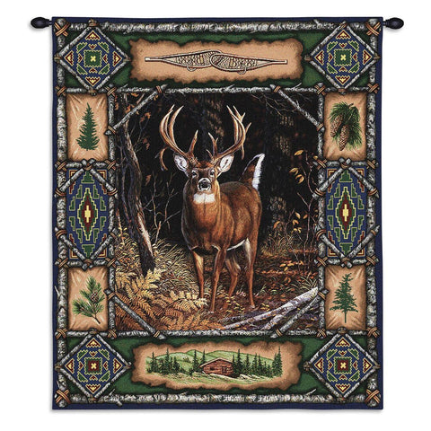 Deer lodge tapestry wall hanging