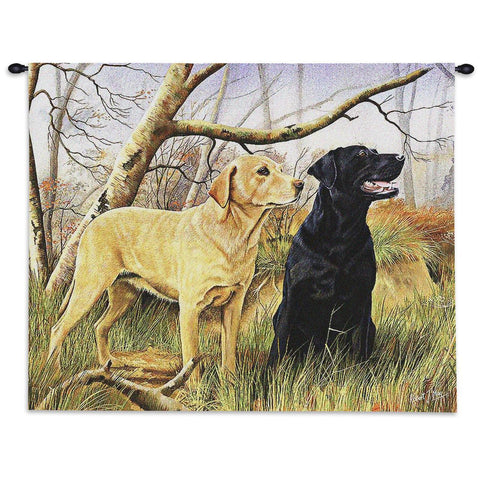 26x34 Yellow & Black Labrador Dog Tapestry Wall Hanging