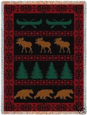 69x48  LODGE Bear Elk Tapestry Afghan Throw Blanket
