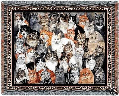 70x54 GROUP of CATS Throw Blanket