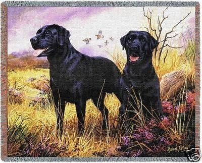 70x53 BLACK LABRADOR Dog Throw Blanket