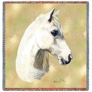 54x54 White Welsh Pony HORSE Lap Square Throw Blanket