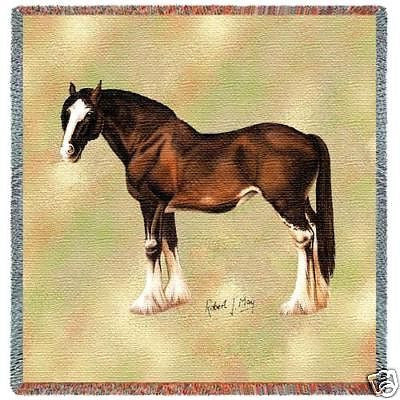 54x54 CLYDESDALE HORSE Square Jacquard Throw Blanket