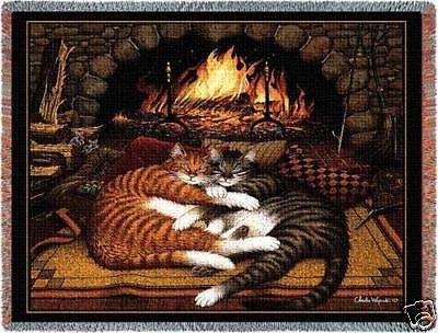 70x54 All Burned Out Cat Throw Blanket