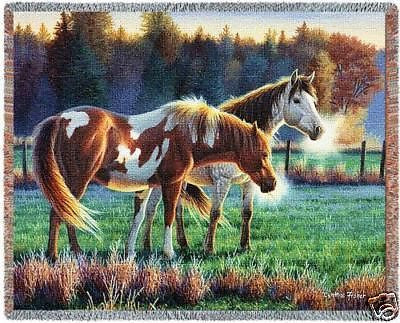 70x53 HORSES Grazing in Field Pasture Western Tapestry Afghan Throw Blanket