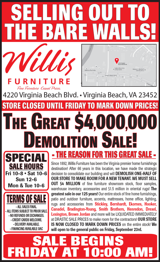 Willis Demolition Sale