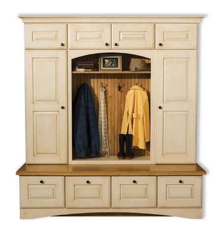 Back to school image of wall unit with clothes