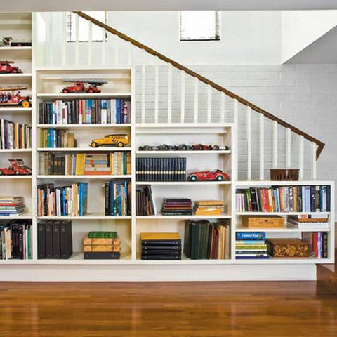 Back to school image of staircase bookshelf