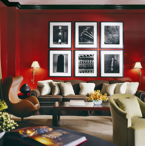 red wall living room decor
