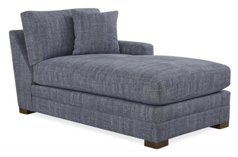 Raf One Arm Chaise Fabric Atlas Denim Gr G With 1 Ctp In Verona Lapis Gr 11 Finish Pecan Std Cushion