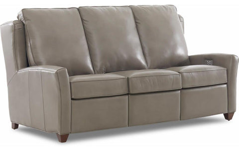 Lia Power Reclining Sofa No Nailheads Leather Steamboat Putty Gr 1 Leg Finish Black Walnut