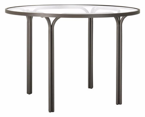 Kantan Aluminum 42 Inch Round Dining Table Glass Top G7148-Ct Finidh 89 Titanium