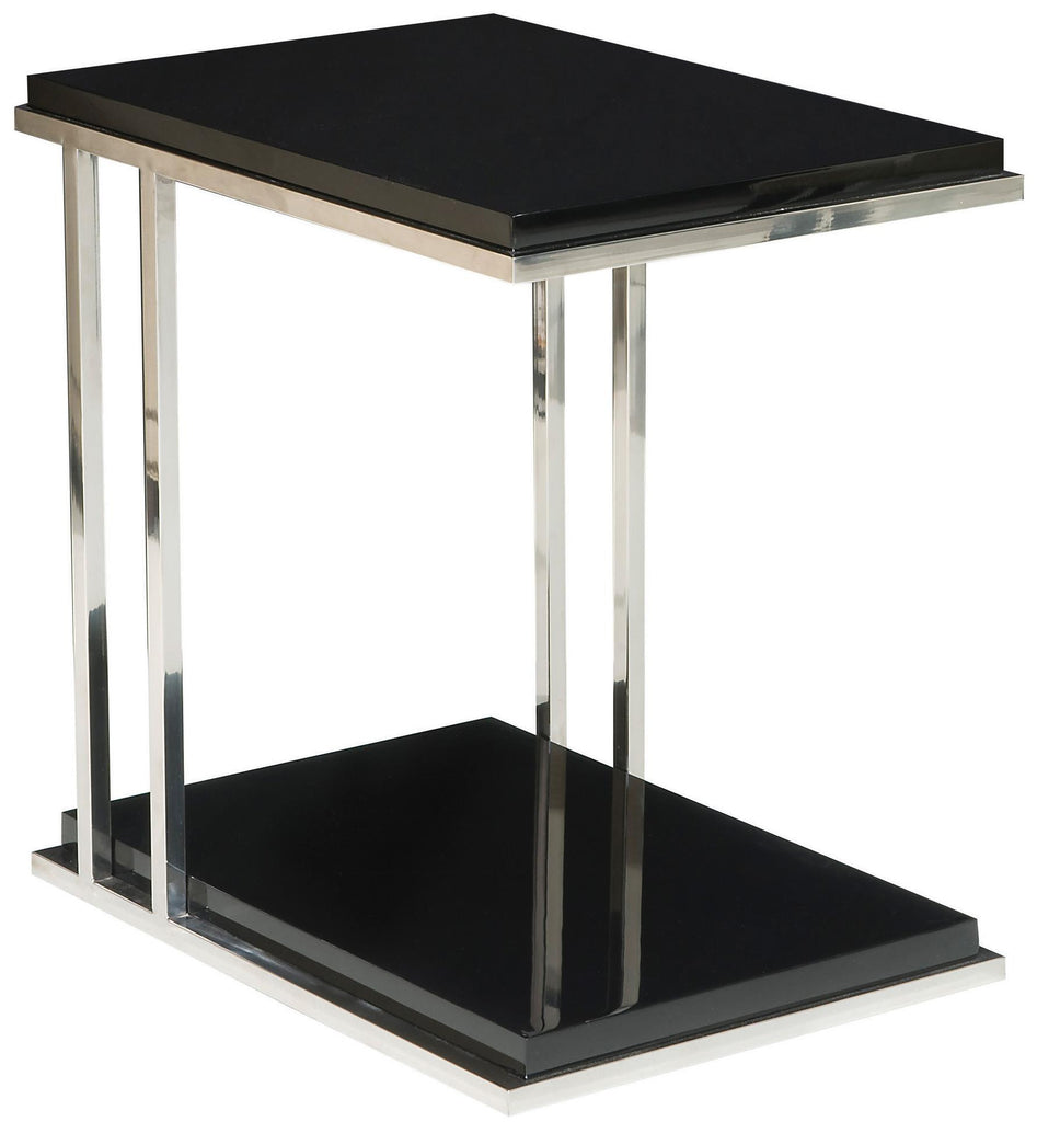 Black Lacquer Surfaced End Table Polished with Stainless Steel