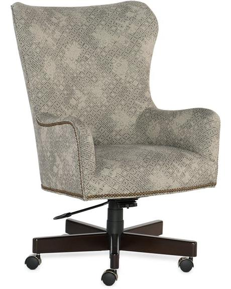 Breve Desk Chair Fabric 100067-40 7476 Moonstone Gr C Finish Espresso Caster Color Satin Chrome