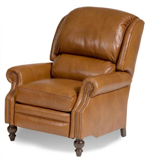 Motorized Reclining Chair In Leather 2712 Grd 2 Antique Brass Nails  Shagbark Finish - Smith Brothers Of Berne - Motorized Reclining Chair In Leather 2712