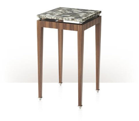 A Rosewood Veneered And Patchwork Dark Mother Of Pearl Inlaid Lamp Table, The Mother Of Pearl Top Floating On Four Stainless Steel Balls, Above Square Tapering Legs With Stainless Steel Feet.