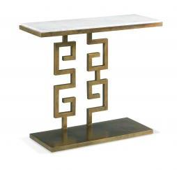 Carrea Greek Key Console Aged Gold Finish