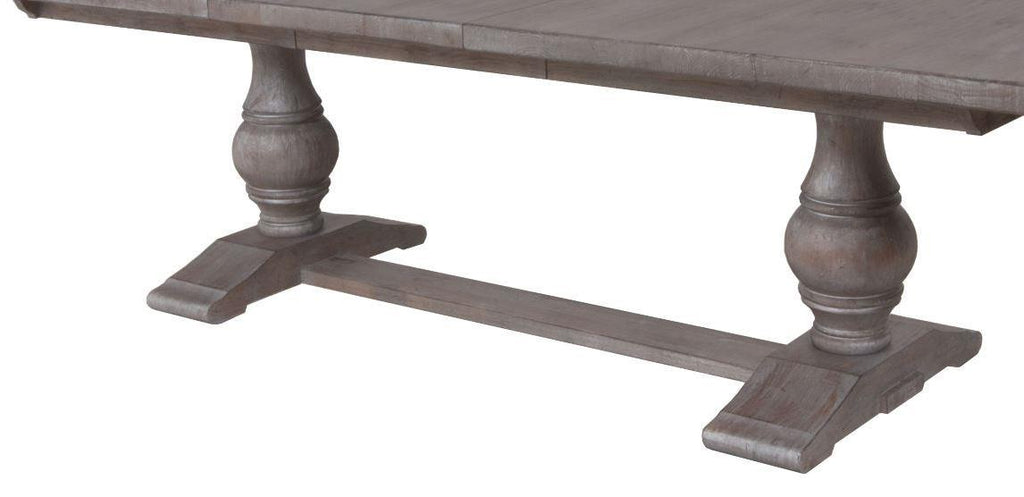 Double Pedestal Dining Table Base Finish Greystone Satin Wax Std Distressing
