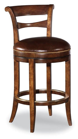 Armless Swivel Counter Stool Finish 11 Santa Fe Leather Cocoa