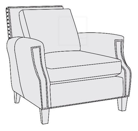 Normandy Chair Married Cover Leather 138-062 Finish 751 Mocha Nailheads 6 Antique Brass Springdon Cushion